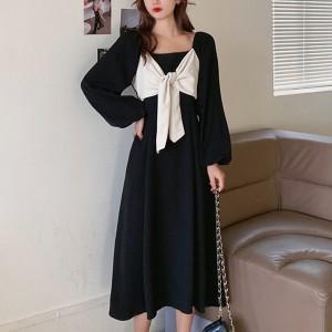 Fancy Bow Style Formal Wear Dress For Women - Black
