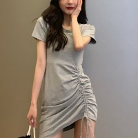 Drawstring Round Neck Solid Color Dress For Women - Gray