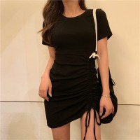 Drawstring Round Neck Solid Color Dress For Women - Black