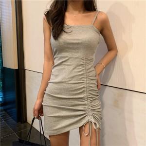Spaghetti Strap Solid Color Casual Wear Dress - Gray
