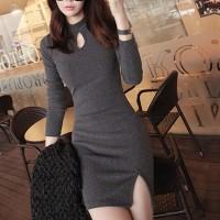 Solid Color O-Neck Split Hip Casual Wear Dress - Gray