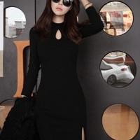 Solid Color O-Neck Split Hip Casual Wear Dress - Black