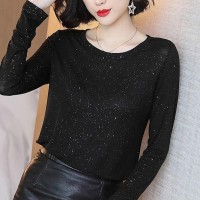 Rhinestone Decorative Long Sleeves Comfy Wear Top - Black