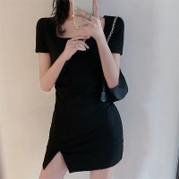 Square Neck Casual Wear Split Mini Dress - Black