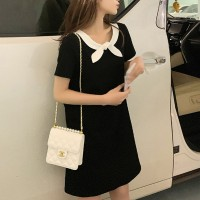Bow Neck Style Casual Wear Mini Dress - Black