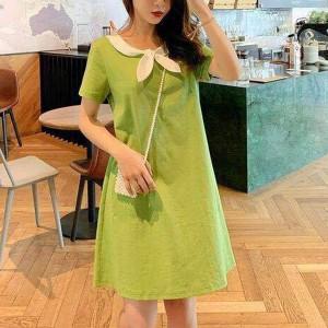 Bow Neck Style Casual Wear Mini Dress - Green