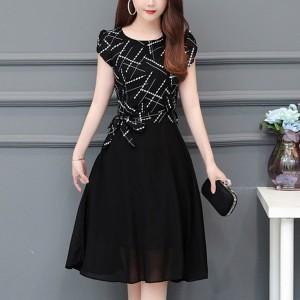 Creative Stripes Short Sleeves Knot A-Line Dress - Black