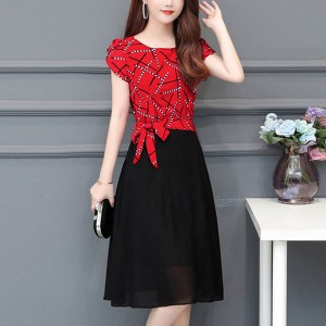 Creative Stripes Short Sleeves Knot A-Line Dress - Red