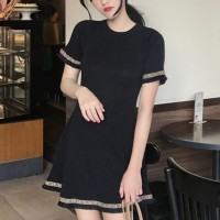 O-Neck Tassel Short Sleeves Casual Wear Mini Dress - Black