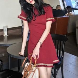 O-Neck Tassel Short Sleeves Casual Wear Mini Dress - Red