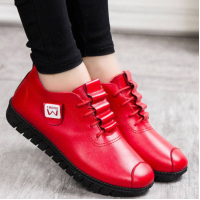 Lace Closure Synthetic Leather Vintage Wear Shoes - Red