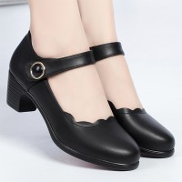 Solid Buckle Closure Women Fashion Thick Sole Shoes - Black