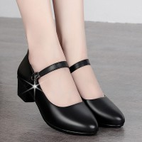 Thick Bottom Buckle Closure Synthetic Leather Shoes - Black