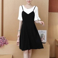 Round Neck Short Frill Sleeve Fake Two Pieces Dress - Black and White