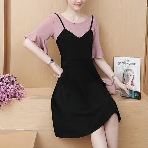 Round Neck Short Frill Sleeve Fake Two Pieces Dress - Black Pink