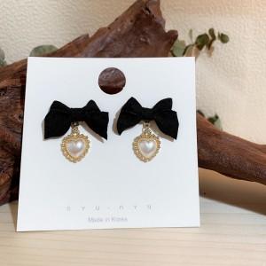 Girls Elegant Bow With Pearl Fashion Earring - Black
