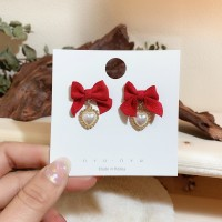 Girls Elegant Bow With Pearl Fashion Earring - Red