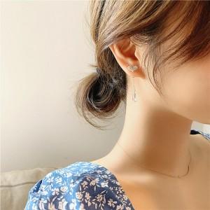 Girls Elegant Heart Rhinestone Tassel Fashion Earring - Golden