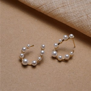 Girls Elegant Pearl Simple Earring - Golden