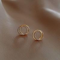 Girls Elegant Rhinestone Double Circle Simple Earring - Golden