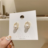 Girls Simple Pearl Circle Earrings - White