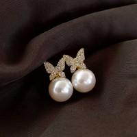 Woman diamond Butterfly Pearl Fashion Earrings - White