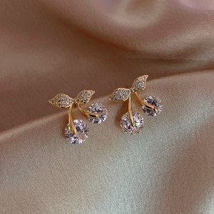 Woman Crystal Cherry Style Fashion Earrings - Golden