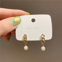 Ladies Fashion Chain With Pearl Long Earrings - Golden