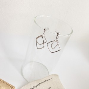 Ladies Double Square Simple Alloy Earrings - Silver