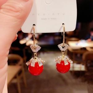 Ladies Elegant Crystal Long Earrings - Red