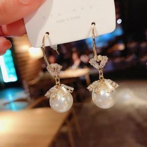Ladies Elegant Crystal Long Earrings - White