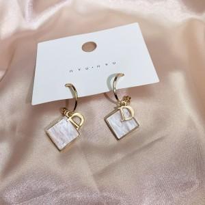 Ladies Square Opal Elegant Earrings - White Gold