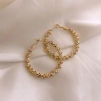 Ladies Popular Big Circle Alloy Earrings - Golden