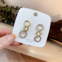 Ladies Fashion Chain Rhinestone Alloy Earrings - Golden
