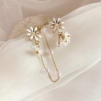 Ladies Flower Fashion Asymmetry Earrings - White