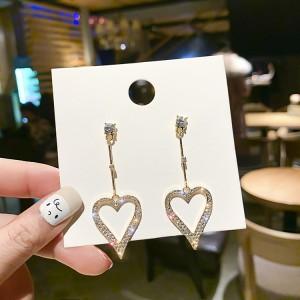 Ladies Full Rhinestone Heart Style Long Earrings - Golden
