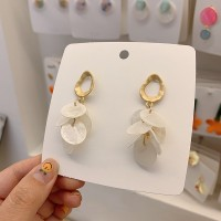 Ladies Fashion Round Petals Long Earrings - White Gold