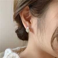 Ladies Heart Full Rhinestone Pearl Earrings - Golden