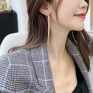 Ladies Fashion Tassel Long Earrings - Golden