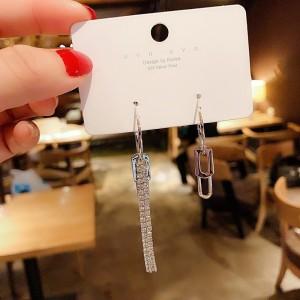 Ladies Fashion Asymmetry Rhinestone Long Earrings - Silver