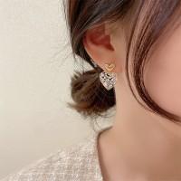 Ladies Diamond Heart Alloy Elegant Earrings - Golden