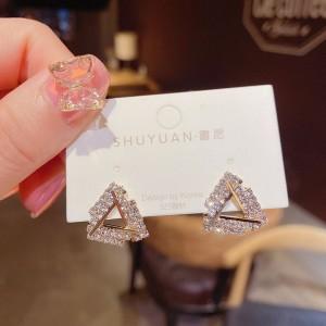 Ladies Full Rhinestone Triangle Earrings - Golden