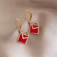 Woman Double Layer Square Rhinestone Earrings - Red