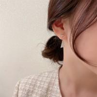 Woman Full Rhinestone Triangle Fashion Earrings - Golden