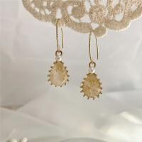 Woman Simple Opal Drop Fashion Earrings - Golden