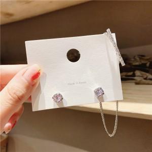 Woman Diamond Asymmetry Fashion Earrings - Silver