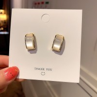 Girls Simple Opal Fashion Earrings - White