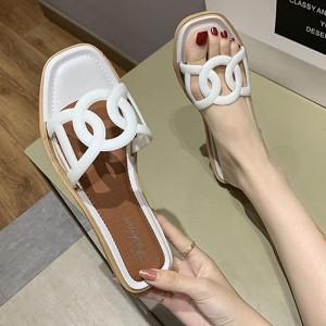 Designers Wear Flat Base Women Slippers - White