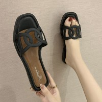 Designers Wear Flat Base Women Slippers - Black