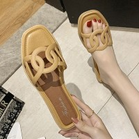Designers Wear Flat Base Women Slippers - Yellow